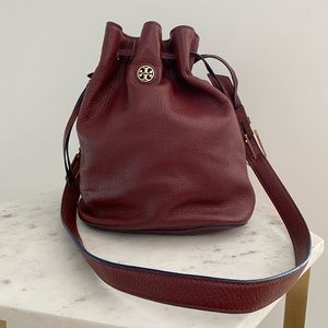 Tory Burch Brody Bucket Bag Burgundy Crossbody